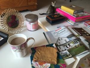Obligatory summer breakfast shot, photo-bombed by Oliver Kitty.